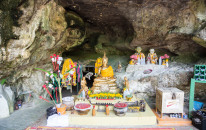 Temples at the exit of Khao Kop cave