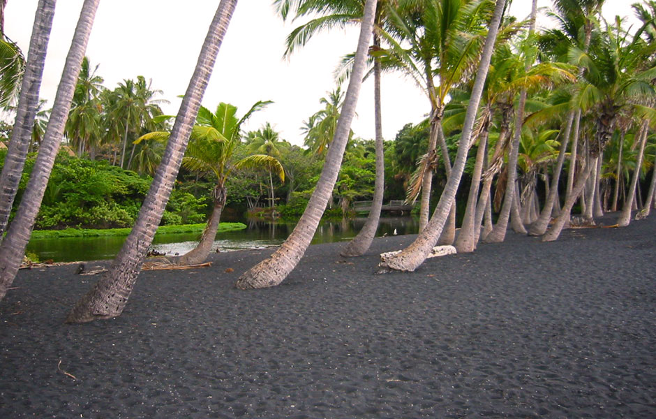 Black sand beach, Hawaii